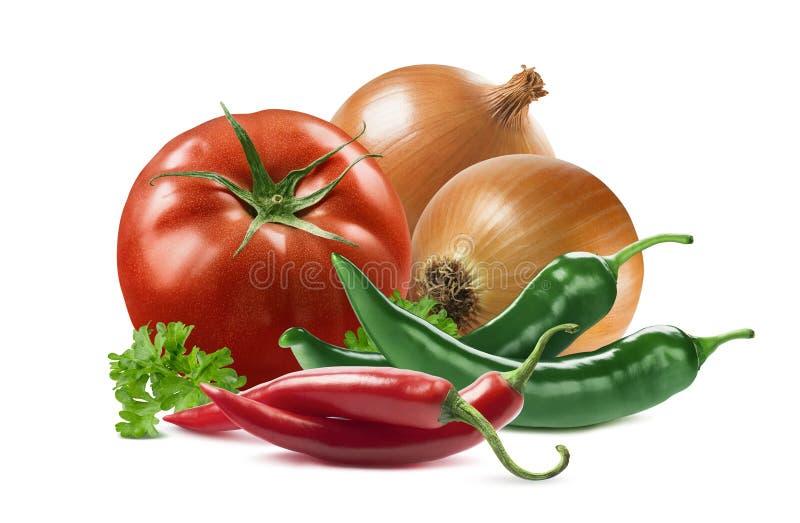 Meksykańscy warzywa ustawiająca pomidorowa cebulkowa chili pieprzu pietruszka odizolowywa zdjęcie stock
