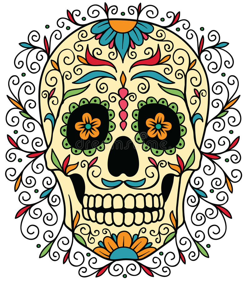 Meksykańska cukrowa czaszka royalty ilustracja