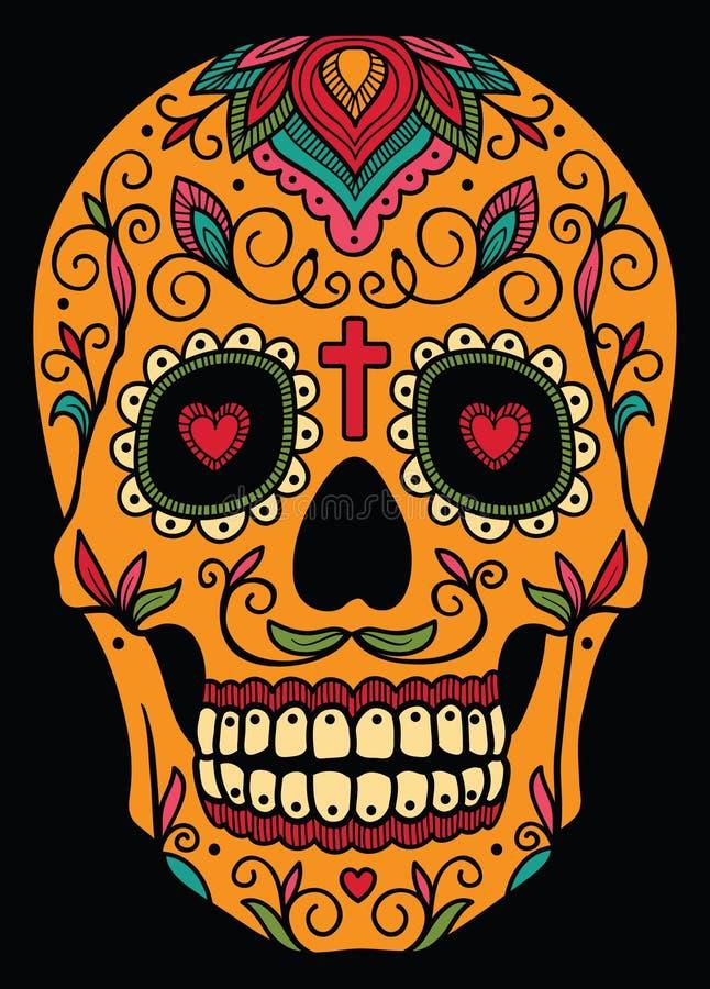 Meksykańska cukrowa czaszka ilustracji