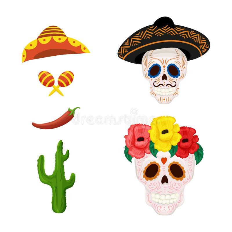 Meksykańska cukrowa czaszki ilustracja, przedmioty dla Cinco de Mayo i ilustracja wektor