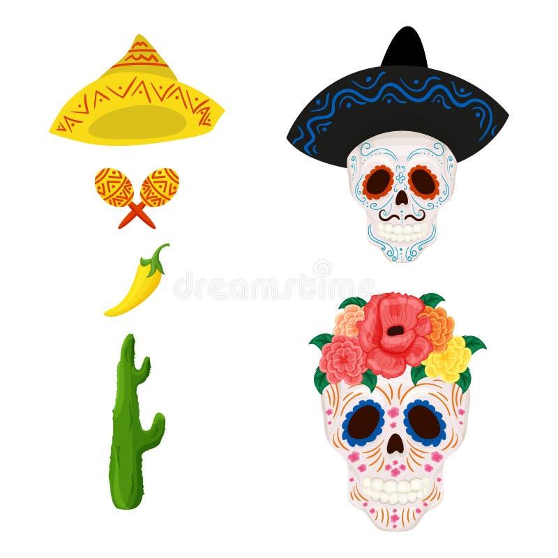 Meksykańska cukrowa czaszki ilustracja, przedmioty dla Cinco de Mayo i ilustracji