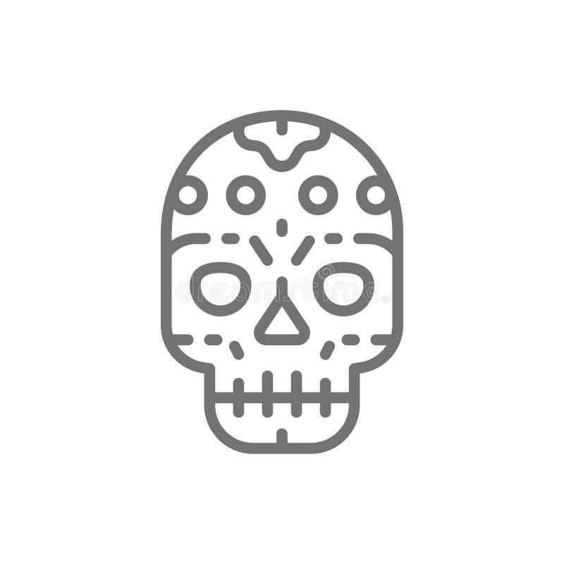 Meksykańska czaszka, Santa muerte maska, dzień Nieżywej linii ikona royalty ilustracja