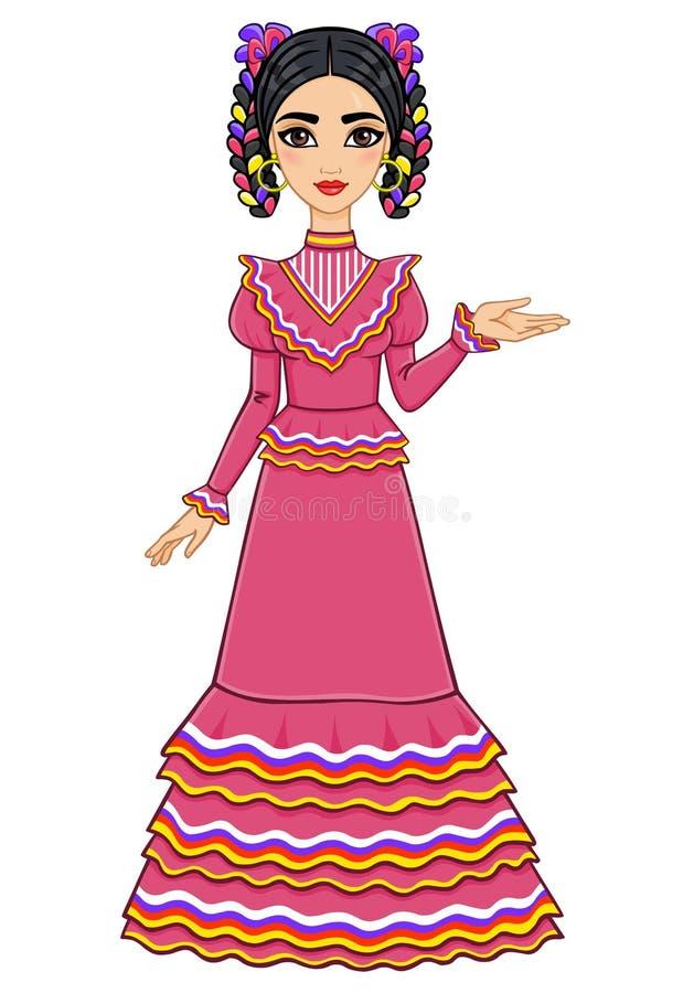 Meksykańska Dziewczyna W Antycznej Sukni Ilustracja Wektor