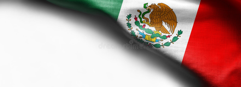 Meksykańska falowanie flaga na białym tle obraz royalty free
