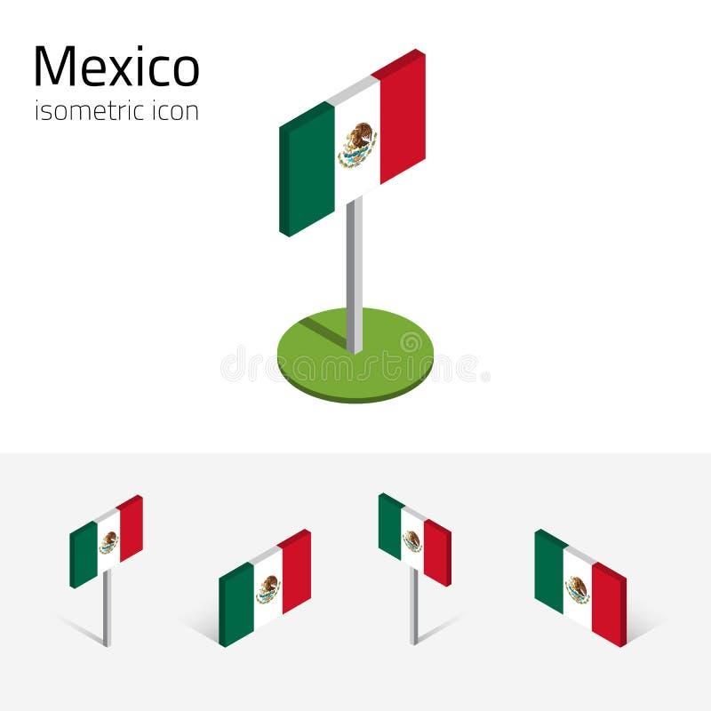 Meksykańska flaga, wektorowy ustawiający isometric płaskie ikony, 3D styl royalty ilustracja