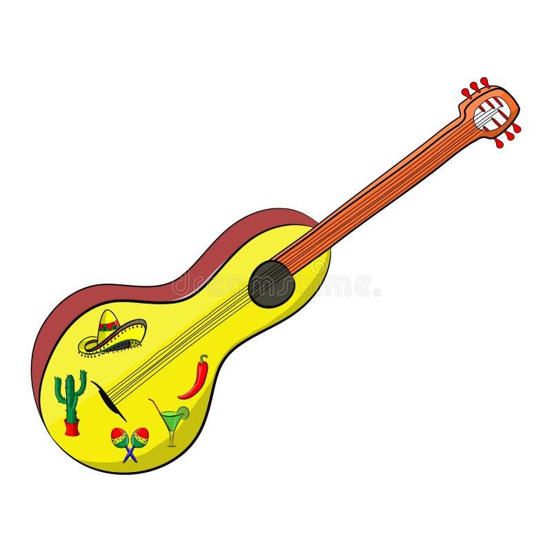 Meksykańska gitara cinco de Mayo ilustracji