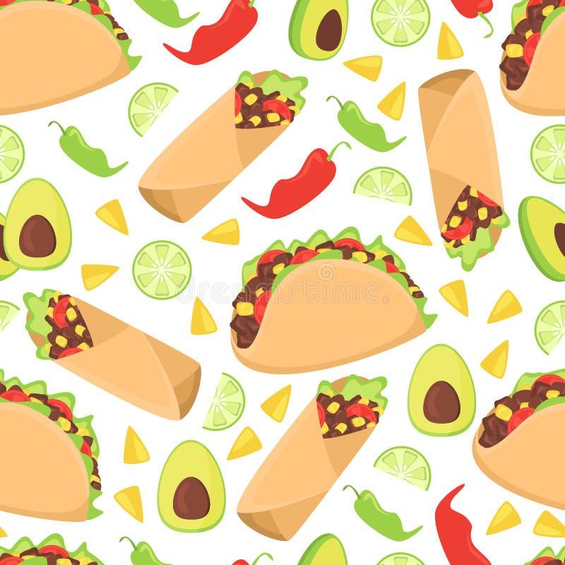 Meksykańska karmowa bezszwowa deseniowa świeża chili nachos Mexico wektoru ilustracja royalty ilustracja
