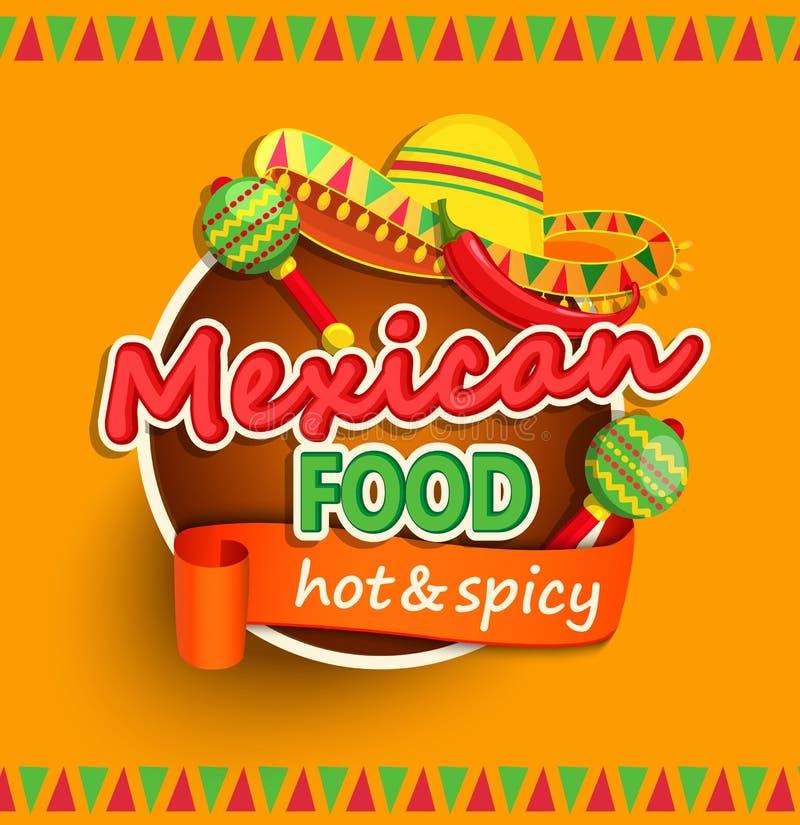 Meksykańska karmowa etykietka ilustracja wektor
