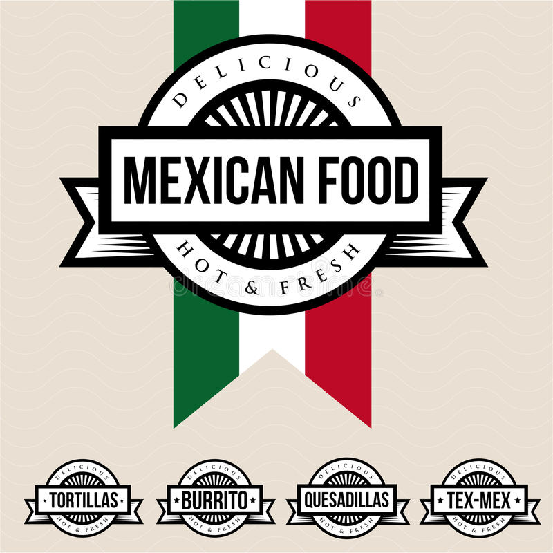 Meksykańska karmowa etykietka - Tortillas, Burrito, Quesadillas, Tex royalty ilustracja