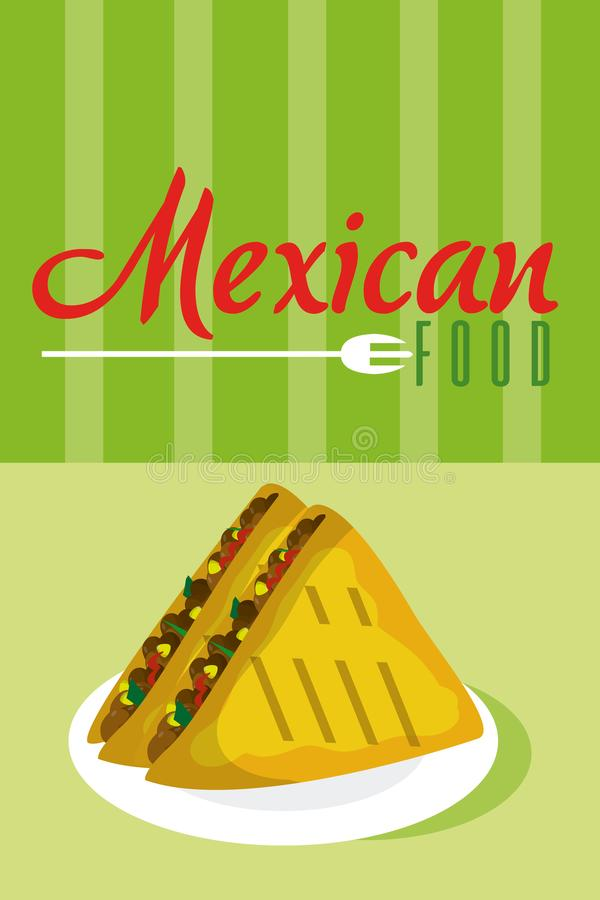 Meksykańska karmowa menu karta ilustracji