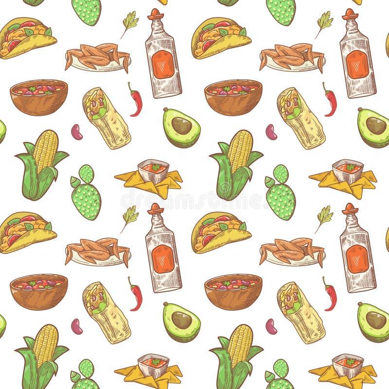Meksykańska Karmowa ręka Rysujący Bezszwowy wzór Meksyk kuchni Tradycyjny tło royalty ilustracja