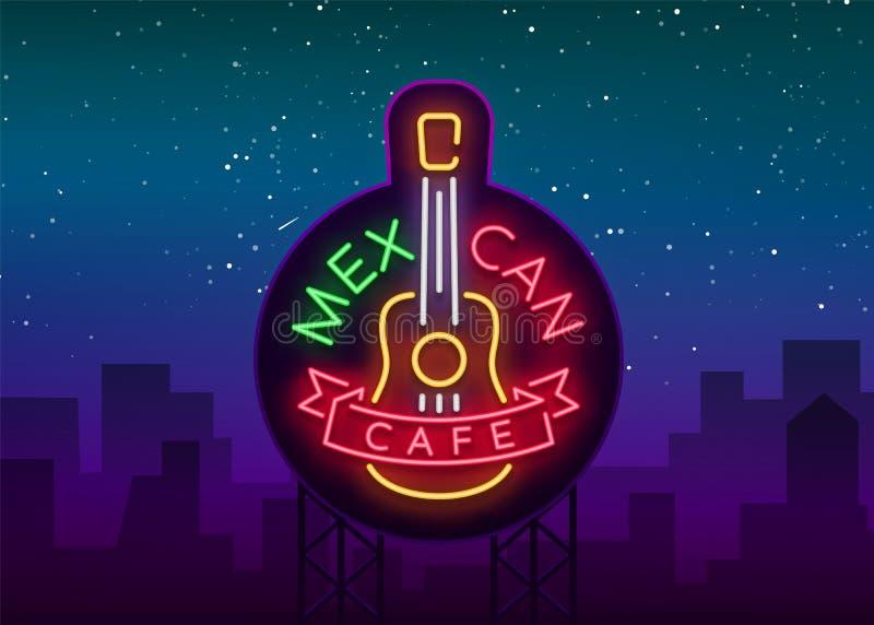 Meksykańska kawiarnia jest neonowym znakiem Jaskrawy łuna znak, neonowy sztandar, świecący logo, symbol, śródnocna reklama Meksyk ilustracja wektor