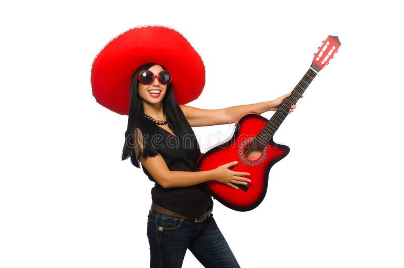 Meksykańska kobieta w śmiesznym pojęciu na bielu obraz stock