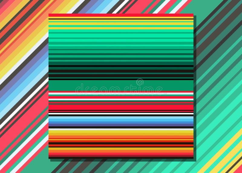 Meksykańska koc Paskuje Bezszwowego wektoru wzór Typowa kolorowa wyplatająca tkanina od środkowego America royalty ilustracja