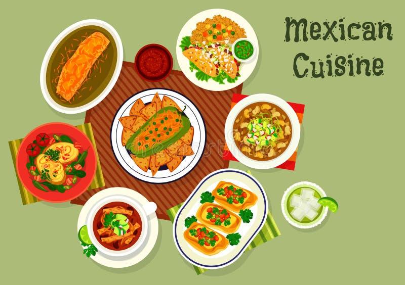 Meksykańska kuchni ikona z polewką i kanapkami royalty ilustracja