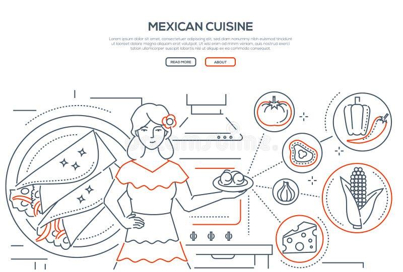 Meksykańska kuchnia - cienki kreskowy projekta stylu sztandar ilustracja wektor