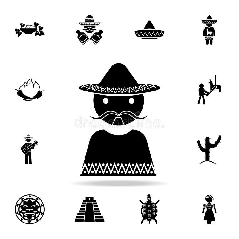 Meksykańska mężczyzna ikona Szczegółowy set elementu Meksyk kultury ikony Premia graficzny projekt Jeden inkasowe ikony dla stron ilustracji