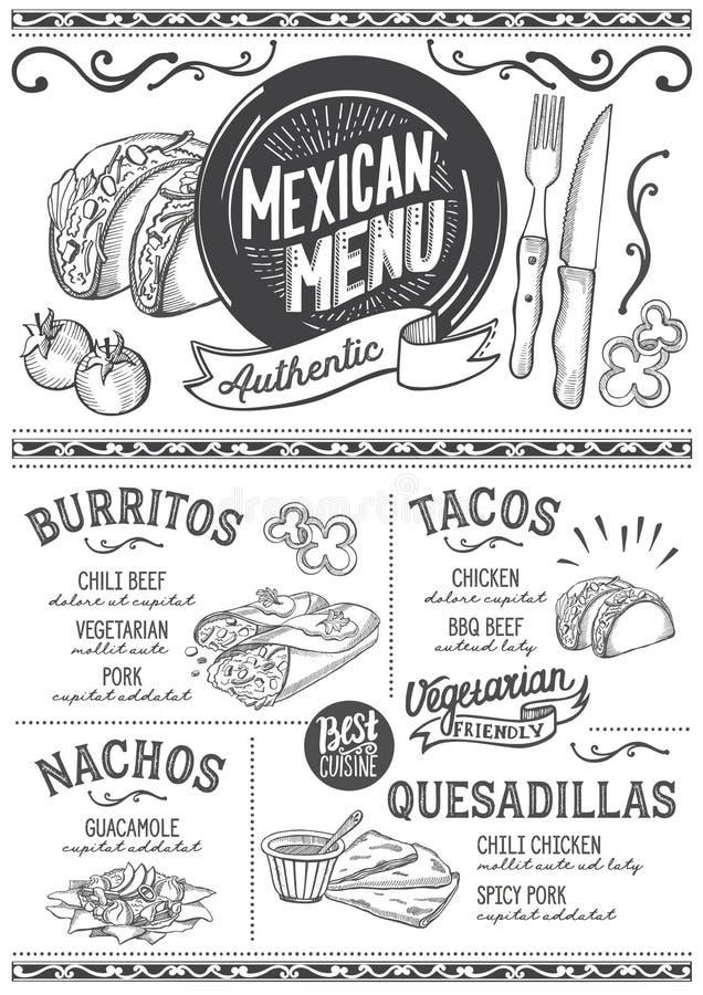 Meksykańska menu restauracja, karmowy szablon ilustracji
