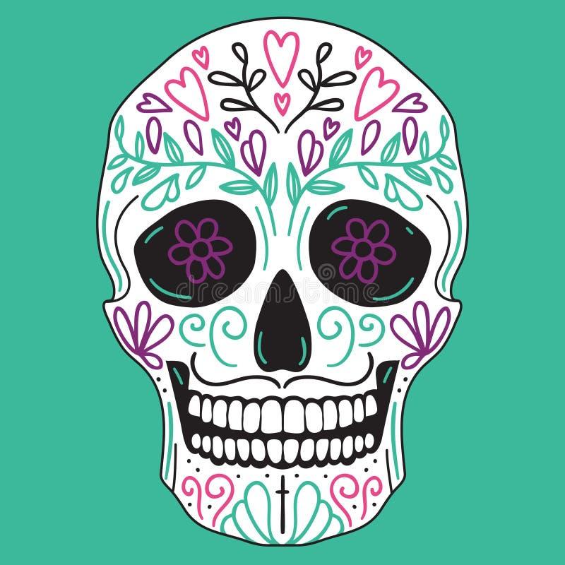 Meksykańska prosta cukrowa czaszka ilustracja wektor