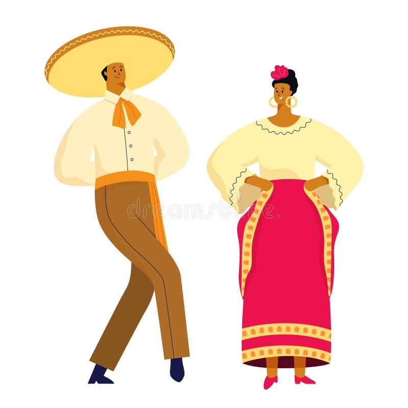 Meksyka?ska taniec para w tradycyjnych kostiumach Wektorowy ilustracyjny p?aski projekt royalty ilustracja
