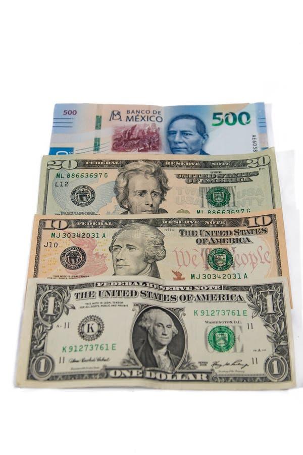 Meksykańska waluta między dolarami fotografia royalty free