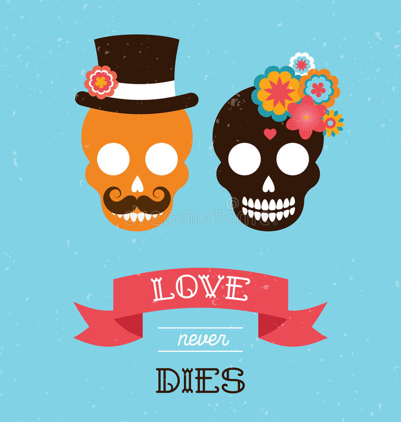 Meksykański ślubny zaproszenie z dwa modniś czaszkami ilustracja wektor