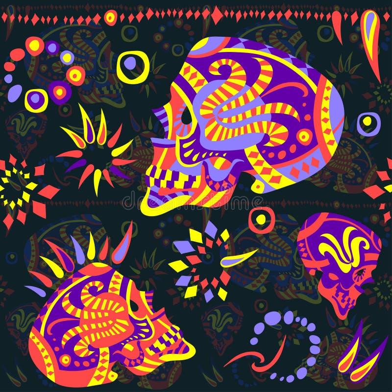 Meksykański bezszwowy wektoru wzór na temacie dzień nieboszczyk ilustracja wektor