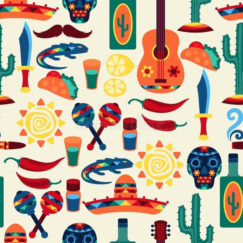 Meksykański bezszwowy wzór z ikonami w miejscowym royalty ilustracja