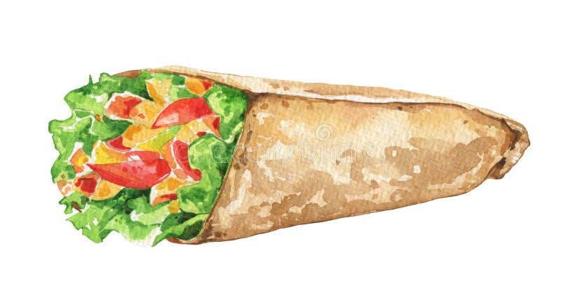 Meksykański burrito z świeżymi warzywami Tradycyjny Meksykański jedzenie ilustracja wektor