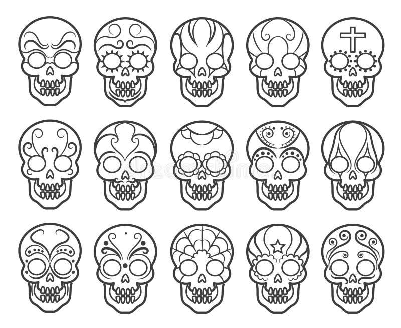 Meksykański cukrowy czaszki ikony set ilustracji