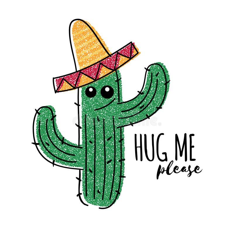 Meksykański doodle kaktus z uściśnięciem ja zadawala inskrypcję Wektorowy koszulka druk ilustracji