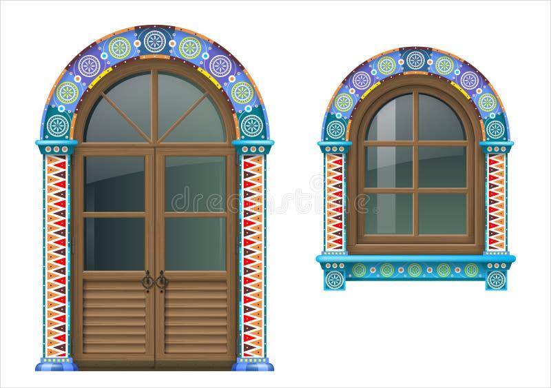 Meksykański drewniany okno i drzwi ilustracji