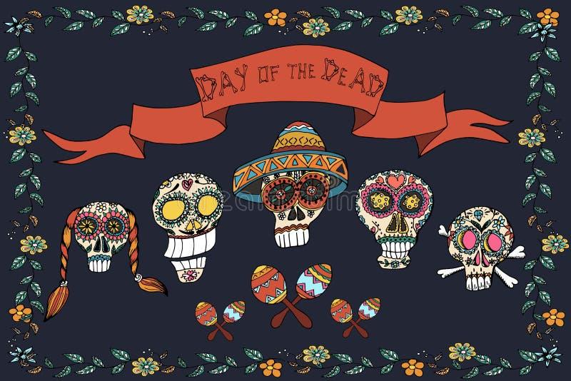 Meksykański dzień nieżywy plakat szczotkarski węgiel drzewny rysunek rysujący ręki ilustracyjny ilustrator jak spojrzenie robi pa ilustracja wektor