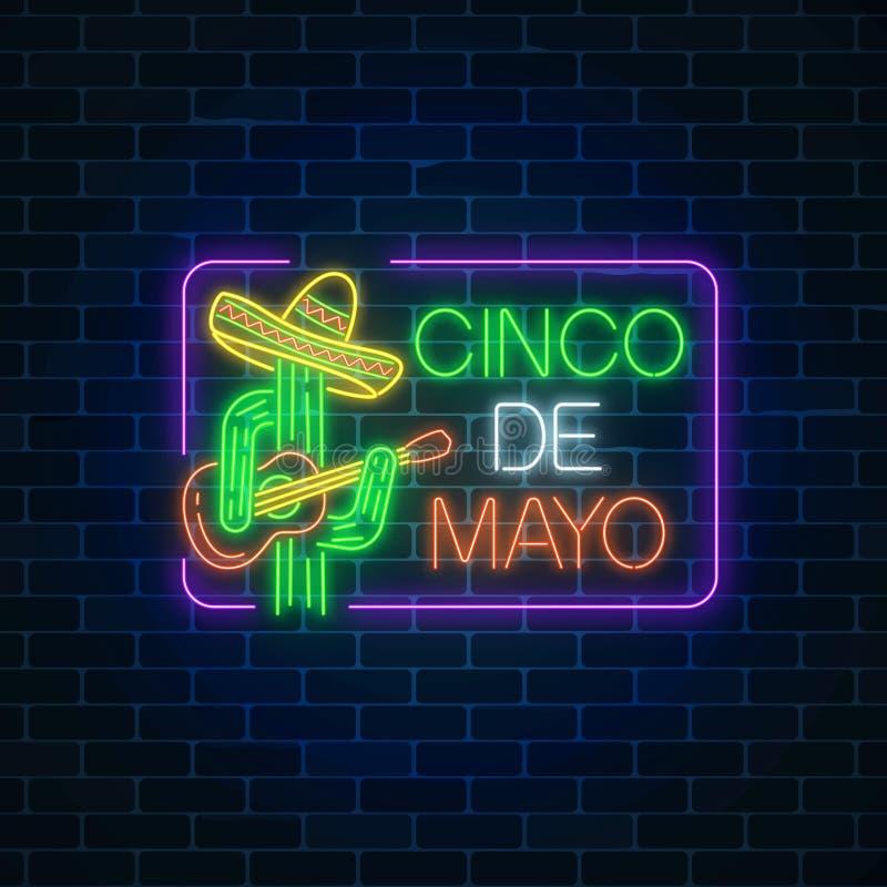Meksykański festiwal ulotki projekt z gitary, kaktusa i sombrero kapeluszem, Rozjarzony neonowy sinco de Mayo wakacje znak