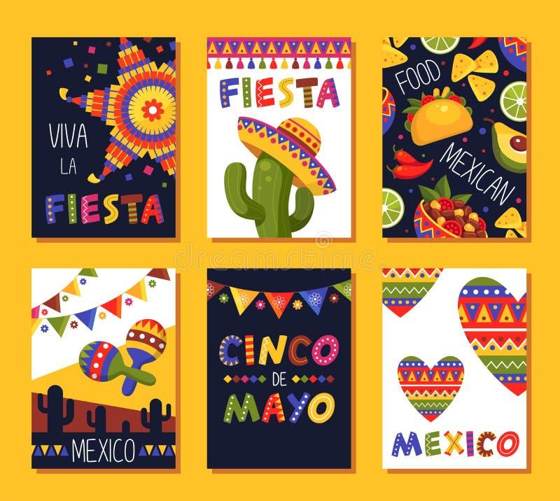 Meksykański fiesta karty set, festiwal dekoracja i projekt,