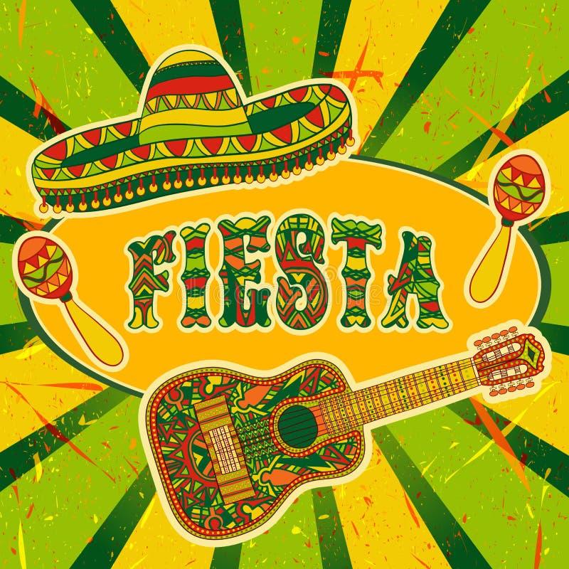 Meksykański fiesta przyjęcia zaproszenie z marakasami, sombrero i gitarą, Ręka rysujący wektorowy ilustracyjny plakat ilustracja wektor