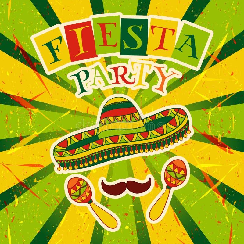 Meksykański fiesta przyjęcia zaproszenie z marakasami, sombrero i wąsy, Ręka rysujący wektorowy ilustracyjny plakat ilustracja wektor