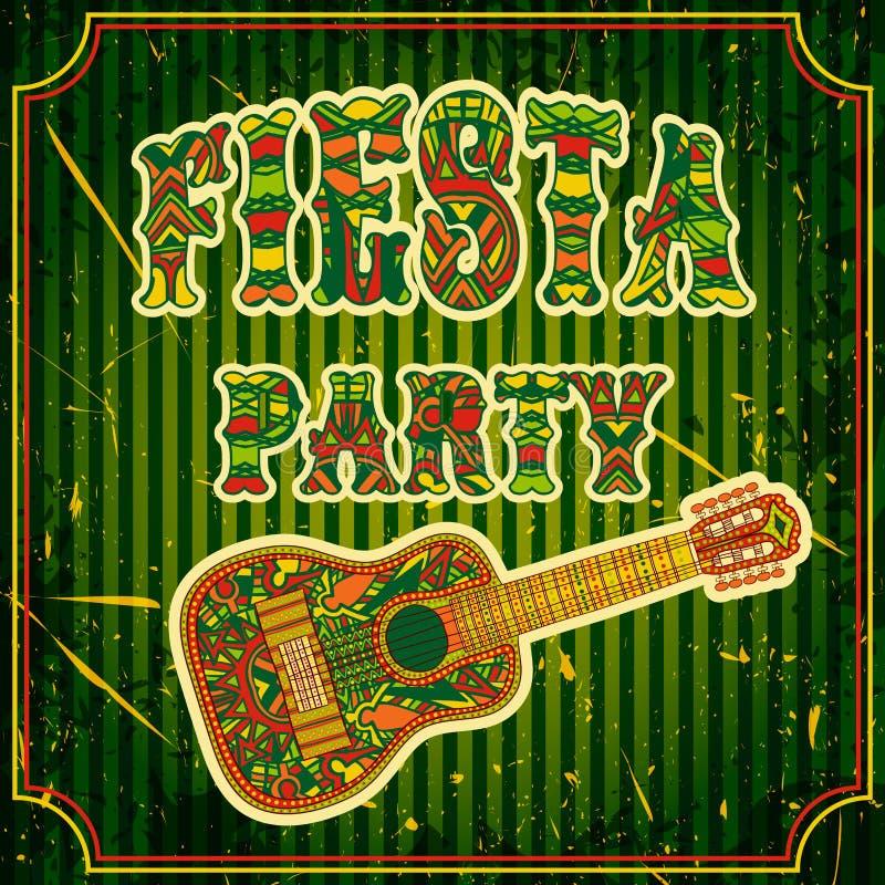 Meksykański fiesta przyjęcia zaproszenie z meksykańską gitarą i kolorowym etnicznym plemiennym ozdobnym tytułem Ręka rysujący wek ilustracji