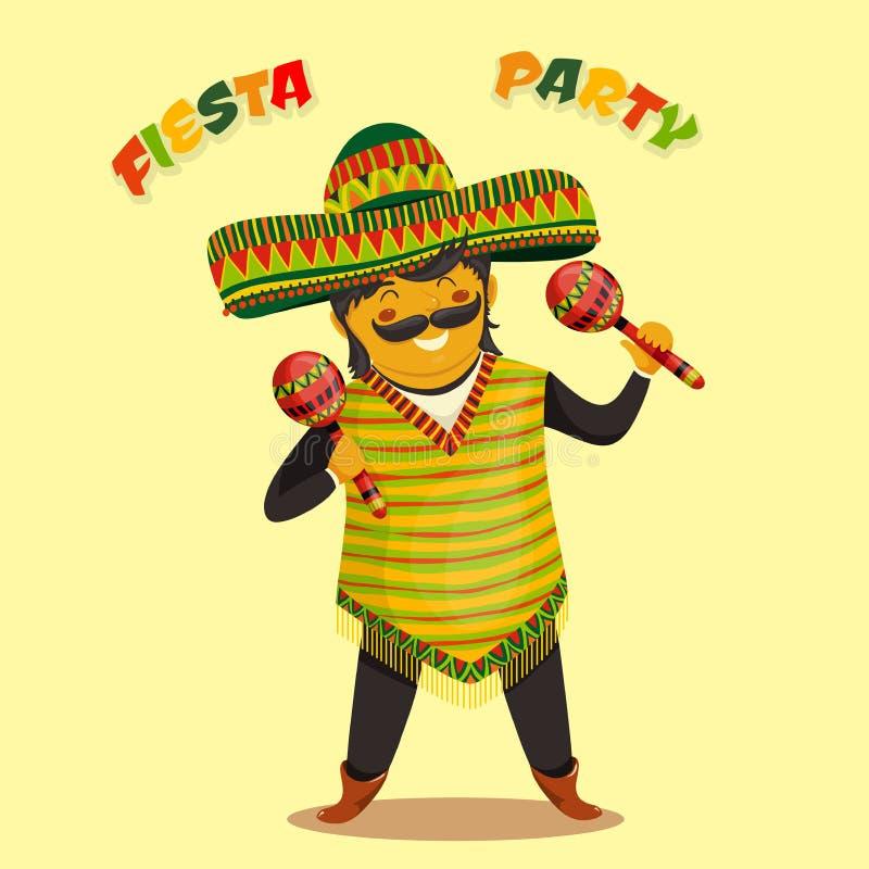 Meksykański fiesta przyjęcia zaproszenie z Meksykańskim mężczyzna bawić się marakasy w sombrero Ręka rysujący wektorowy ilustracy ilustracja wektor