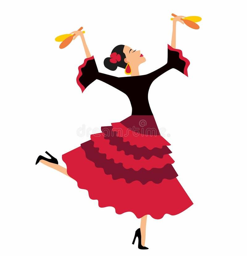 Meksykański fiesta przyjęcia zaproszenie z pięknym Meksykańskim kobieta tanem z marakasami ilustracji