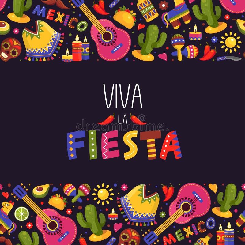 Meksykański fiesta tło, tradycyjna dekoracja i projekt,