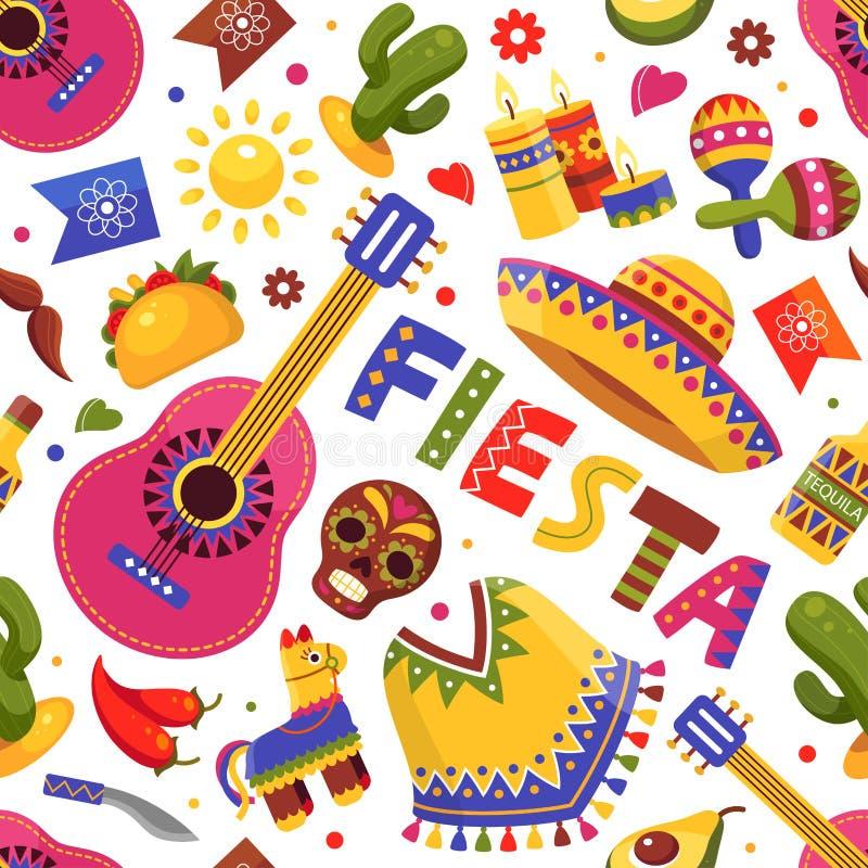 Meksykański fiesta wzór, tradycyjna kwiecista wakacyjna sztuka