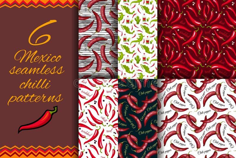 Meksykański Gorący chili pieprzy bezszwowy wzór royalty ilustracja