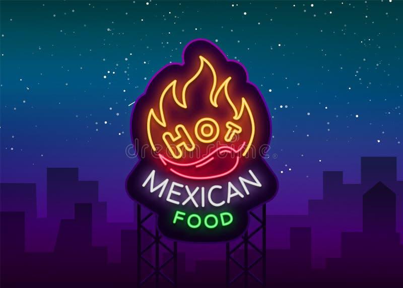 Meksykański gorący karmowy logo w neonowym stylu Neonowy znak, projekta szablon dla Meksykańskiej restauraci, kawiarnia, bar Jask ilustracja wektor