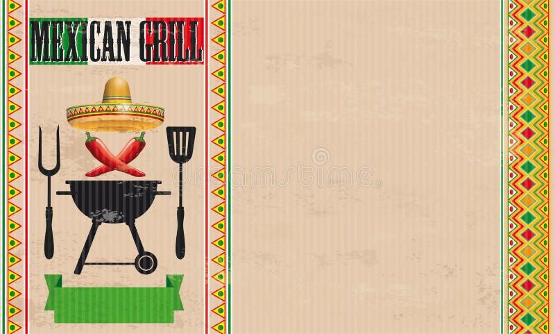 Meksykański grilla Chili rocznik ilustracja wektor