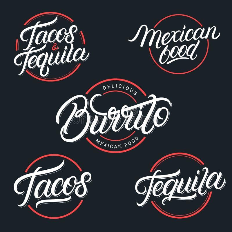 Meksykański jedzenia i napoju Tequila, Tacos, Burrito ilustracji