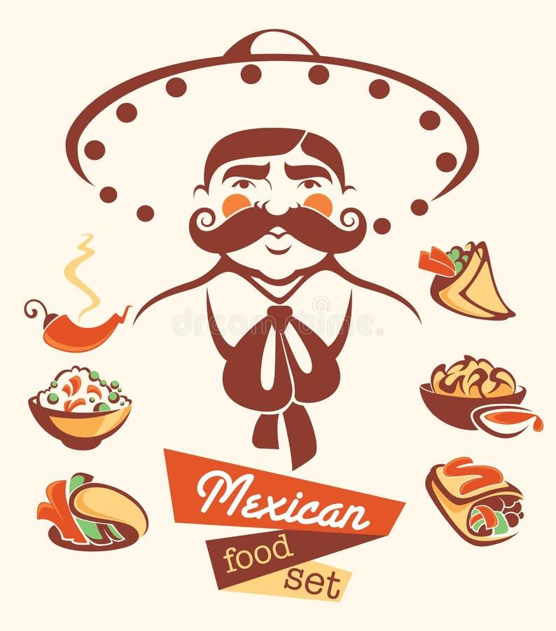 Meksykański jedzenie i meksykański mężczyzna royalty ilustracja