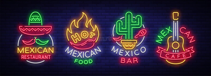 Meksykański jedzenie jest kolekcją neonowi znaki Jaskrawy łuna znak, neonowy sztandar, świecący logo, symbol, śródnocna reklama royalty ilustracja