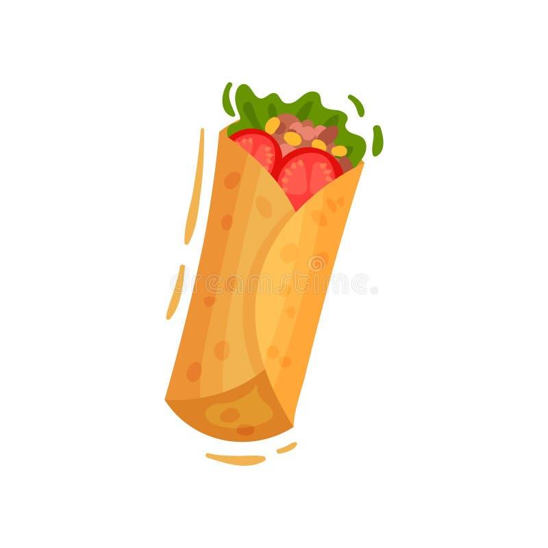 Meksykański jedzenie na białym tle Taco lub burrito ilustracji
