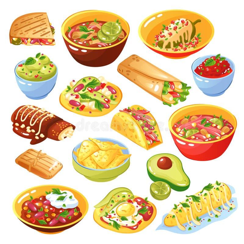 Meksykański jedzenie set ilustracji